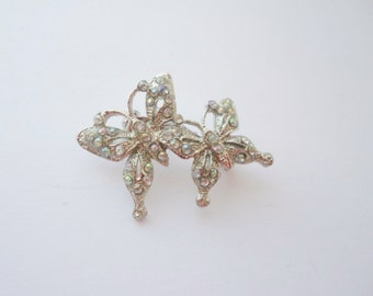 Vintage Double Butterfly Silver Aurora Borealis Rhinestone Butterfly Brooch, Small Butterfly, Jewelry, Collectible, Pin