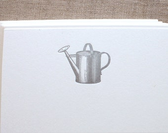 Flat Card Set with Letterpress Watering Can(vertical)