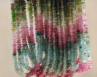 """FULL length Strand.Pink Green Blue Amber Sage Gem Watermelon Tourmaline 3.9-4.2mm faceted Rondelle Beads 14"""" strand 48-52ct weight"""