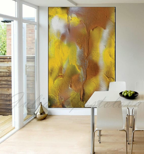 Summer Painting Yellow Abstract Art Copper Print Large Wall
