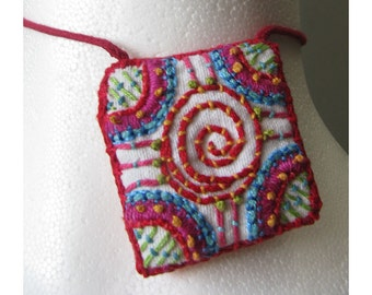 Hand Embroidered Square Necklace