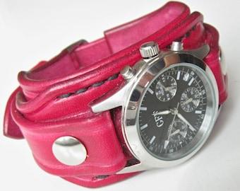 Leather Women's Watch Cuff Red, Bracelet Watch, Red Leather Wrist Watch