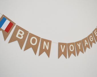 Bon Voyage, Good bye Banner, French Flag, Farewell, Good Luck Bunting, Party Decoration