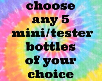Pick ANY 5 MINI BOTTLES (9ml) from Polish Me Silly :  Custom-Blended Glitter Nail Polish /  Indie Lacquer
