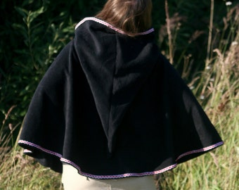 Black hood cape - hooded capelet - hooded cloak - medieval cape -  game of thrones cape - elven capelet - game of thrones capelet