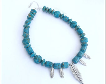 Turquoise Necklace. Silver Feather Necklace. Statement Necklace. Chunky Necklace. Ocean Blue. Layering Necklace. Bracelet. Gift for Her.