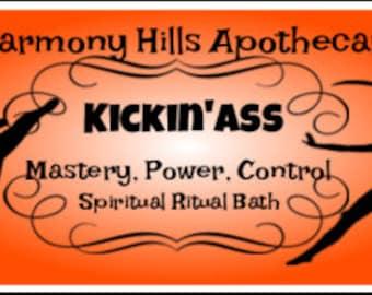 KICKIN' ASS Therapeutic Bath Salts, Spiritual, Ritual, Relaxation. 5 ounces with bonus reusable cotton muslin bath tea bag.