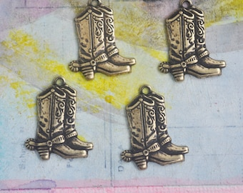 FOUR Cowboy Boots Charms, Brass Stampings, Brass Ox, Jewelry Supplies, Pendants, Southwestern