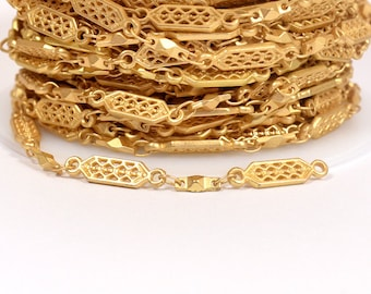 Tribal Filigree Chain - Matte Gold - CH106 - Choose Your Length