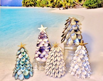 MINI Seashell Christmas Tree with Starfish Topper -Photo Shoot Prop - Home or Office Tabletop Tree