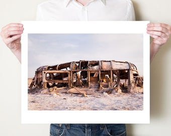 Salton Sea photography print. Abandoned Airstream trailer, Bombay Beach CA fine art photograph. Post apocalyptic art. Oversized artwork