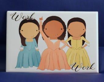 Schuyler Sisters original art magnet