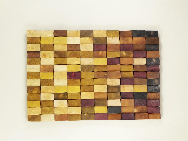 wooden mosaic decor, modern wood wall art, organic wall art ...