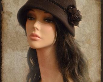 hat / Cloche / Cloche hat / 20s style / women hat / winter hat /brown / brown hat /brown  Cloche / hat handmade /