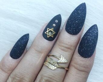 Black sugar | sugar effect | Press on nails | Black nails | Matte nails | Glue on nails | Fake nails | False nails | Stiletto nails