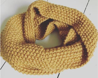 Mustard yellow wool snood scarf handmade knitted