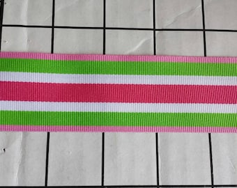 1.5 inch pink green and white striped ribbon