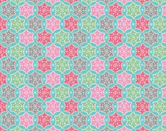 Christmas Snowflakes - Vintage Noel from Blend Fabrics - Full or Half Yard Frosted Snowflakes Blue - Red, Pink, Gray, and Green
