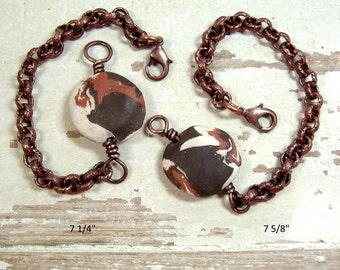 One of a Kind Handmade Ceramic ID Bracelet Featuring a Reversible Handformed Ceramic Focal Bead, Heavy Copper Chain Lobster Claw Closure