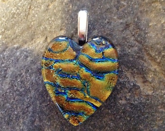Heart Shape Fused Dichroic Art Glass Jewelry Pendant with Copper, Gold, and Blue Color