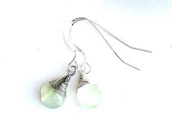 earrings. little green teardrop gemstone earrings. August birthday gift sterling wire wrapped. translucent green. handmade