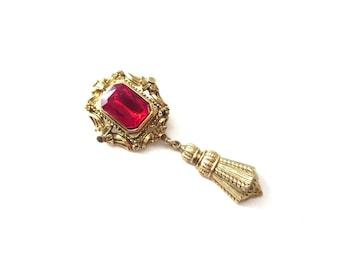 Vintage Gold-Ton Metall Kunststoff / Harz roten Juwel Ton Strass unmarkierte baumeln Brosche