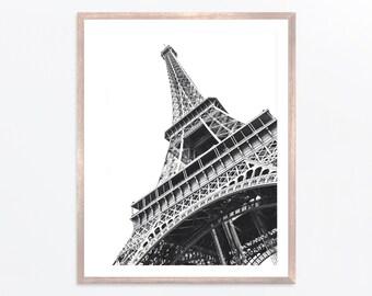 Black and White Paris Eiffel Tower Digital Design Poster Wall Art Decor Download JPEG