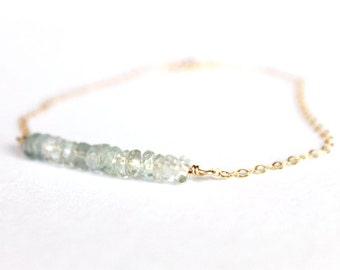 Aquamarine Bracelet - 14k Gold Bracelet - Bead Bar Bracelet - Beaded Bracelet - March Birthstone - Mint Bridesmaids Teal - Jewelry Set Thin