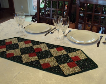 Festive Holiday Quilted Table Runner, Topper or Accent in Green, Red and Cream