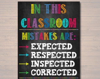 classroom decor mistakes are proof youre trying poster classroom poster educational motivational poster mistakes expected respected