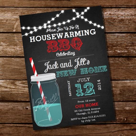 Chalkboard Housewarming BBQ Invitation Housewarming Party
