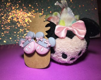 Pastel Minnie Mouse Earrings // Pink and Gray Sparkle Studs // Disney Inspired Jewelry (Ready to Ship!)