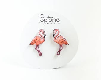 Flamingo Earrings, pink flamingo studs, flamingos, tropical bird jewelry, pink earrings