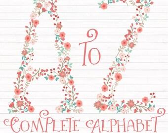 Professional Floral Alphabet Clipart & Vectors - Coral and Mint Floral Monogram, Floral Alphabet Clip Art, Floral Letters, Wedding Clipart