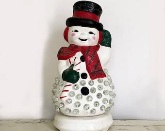 Plaster Snowman Light Up Christmas Lights Lighting