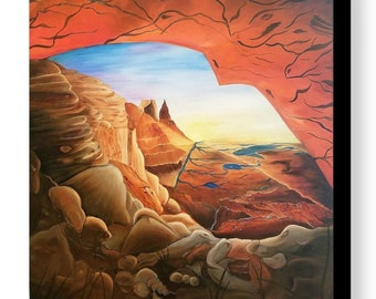 Surreal Red Rocks Oil Painting, Surrealism, Love your world, Hidden Images Painting, Landscape, Red Rocks Art, Wall Art, Fine Art, Painting