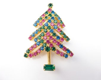 Vintage gold tone Christmas Tree with pink, green and blue rhinestones  AD39
