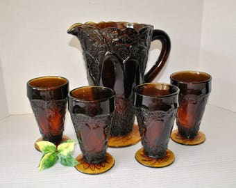 Tiara Sweet Pear Avocado Pitcher Set in Burnt Honey Dark Amber by Indiana Glass, 5 Piece Juice Pitcher and Footed Tumbler Set