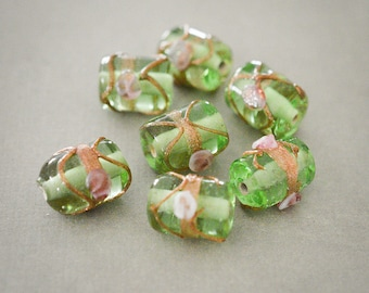 Glass Beads, Gold Leaf decor, Indian Handmade beads, Tube Beads, transparent, Light Green, Bohemian 10x15mm, 2 PCS