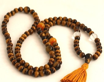 Tigereye Mala Beads w Quartz and Copal Amber Tibetan Buddhist Prayer Beads