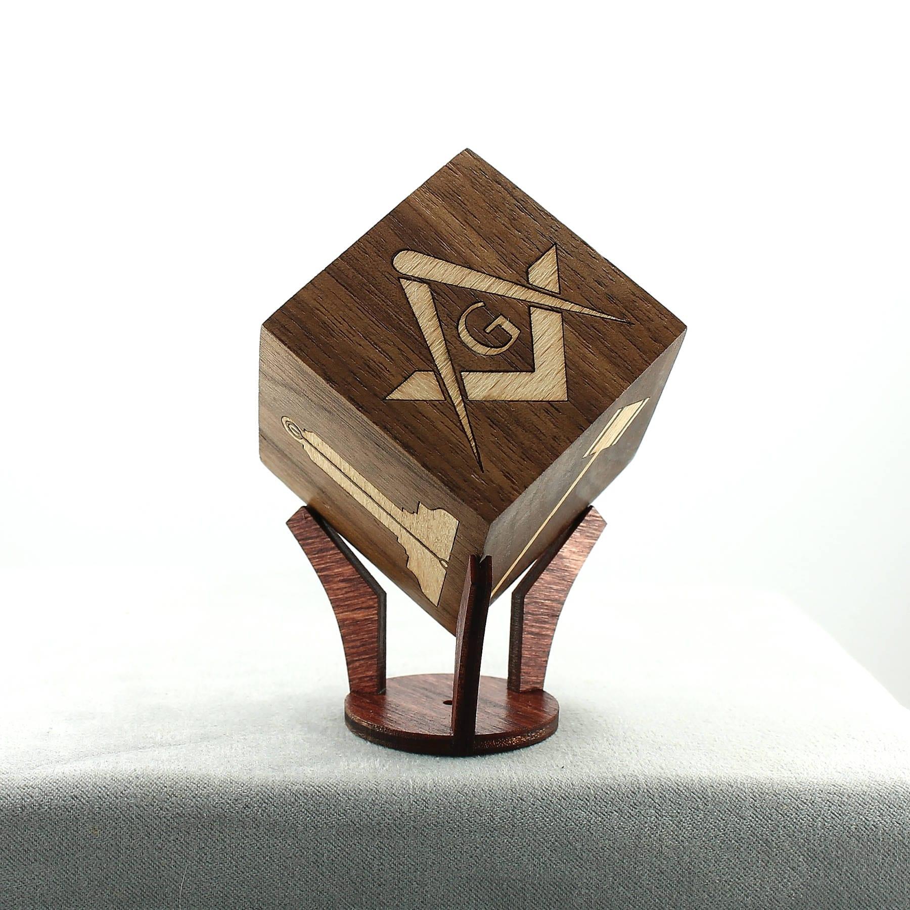 Masonic Wood Inlaid Cube Working Tools