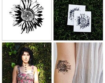 Sunflower - temporary tattoo (Set of 2)
