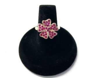 925 Sterling Silver Pink Rhinestone Flower Ring, Statement Ring, Sparkly Jewelry, Boutique.   STR14
