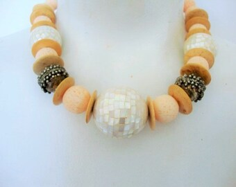 Boho Coral & Pearl Necklace, Mother of Pearl Beads, Tropical, Tribal, Statement Necklace
