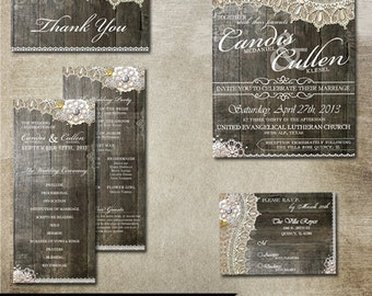 Rustic Lace Wedding Package - RSVP Invitation Thank You Card & double sided Program Printable Files. Burlap, lace and vintage elements