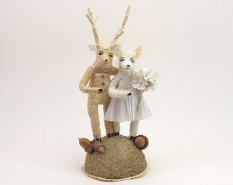 Vintage Style Spun Cotton Deer Wedding Topper Figure (MADE TO ORDER)