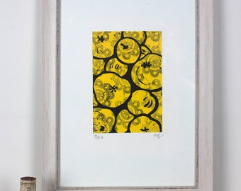 """Lino Print """"Cookers and Eaters"""""""