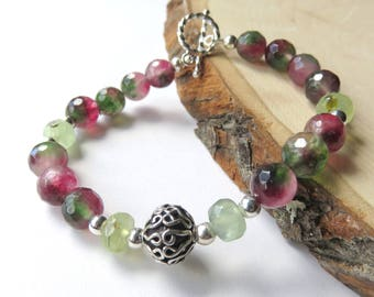Watermelon Agate Bracelet, Dainty Beaded Bracelet, Prehnite Gemstones, Sterling Silver Toggle Clasp, Agate Fashion Jewelry, Valentine Gift