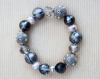 Handmade Bauble Bracelet Featuring Beige Baubles of Various Shades Plus Bling