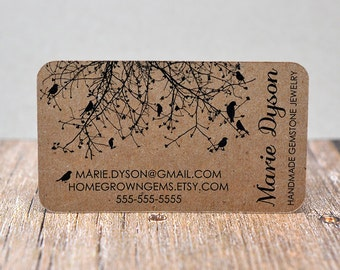 Recycled Kraft Brown Business Cards Black Birds Tree - Calling Cards - Mommy Cards - Display Cards